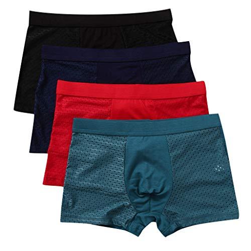 REALIKE Herren 4er Pack Boxershort Unterhose Kurz Hose Freizeit Mesh Unifarben Baumwolle Stretch Breathable Slips Sommer Unterwäsche Slim Fit Pants Männer Retroshorts