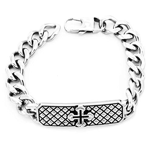 Jubuk Herren Armbänder Schmuck Edelstahl Schmuck KreuzHerren Armband, Silber, 22CM