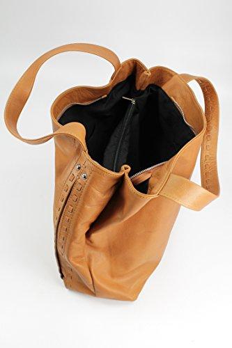 BELLI® ital. Nappa Leder Handtasche Shopper - Freie Farbwahl - 37x34x16 cm (B x H x T) Cognac