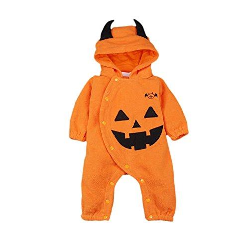 Bombay Halloween Baby Kürbis Hooded Jumpsuit Boy Weihnachten Spielanzug Mädchen Outfits Kostüm Outfit 3-24 (9 Monate Halloween Kostüme Uk 12 Alte)