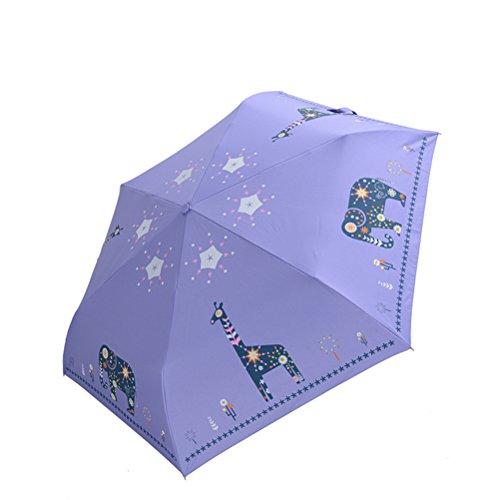 Paraguas de Sol Sombrillas plegablesimprimió la Historieta Animal Elefante Jirafa Ligero Al Aire Libre Resistente a los Rayos UV Sombrilla Pegamento Negro 190T 6 Huesos para Mujeres Regalos (Morado)