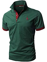 4fade25383815 GHYUGR Polos Manga Corta Hombre Bordado de Ciervo Camisas Slim Fit Camiseta  Deporte Golf Poloshirt Verano