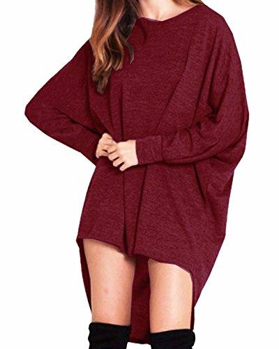 StyleDome Damen Lose Asymmetrisch Jumper Sweatshirt Pullover Bluse Oberteile Oversize Tops- Gr. EU 52 / US 22 (5XL), Weinrot