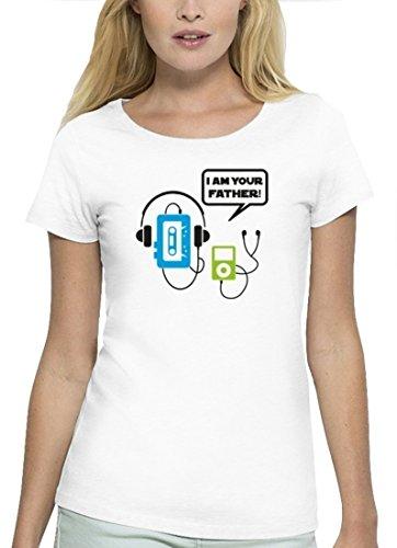 Music Musik Premium Damen T-Shirt aus Bio Baumwolle I Am Your Father! Marke Stanley Stella White
