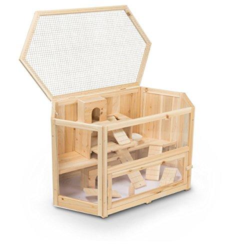 Kleintierstall Meerschweinchenstall MATS aus Holz, 90x55x55 cm, Hamsterkäfig, Nagerkäfig
