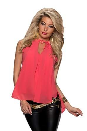 5015 Fashion4Young Damen Blusen-Top im Vokuhila-Style Chiffon verfügbar in 4 Farben Gr. 34 36 38 (One Size 34 36 38, Lachs)