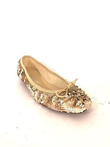 Az00-92 Pailletes Bailarinas En Cuero Elegante Beige Mainapps Zapatos Planos
