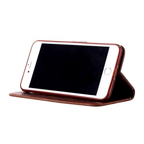 Handyhülle iPhone 7 Plus Flipcase mit Lanyard ,Moon mood® Ledertasche Brieftasche für iPhone 7Plus (5.5 Zoll) ,PU Leder Hülle Wallet Case Folio Schutzhülle Scratch Mit Diamanten Schmetterling Blume De C-Braun