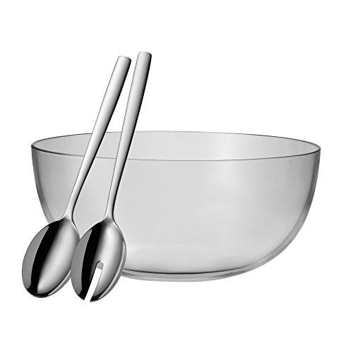 WMF Salatschüssel-Set 3-teilig TAVERNO Glasschale Ø 30 cm Salatbesteck 30 cm Glas Edelstahl Cromargan rostfrei spülmaschinengeeignet (Dekorative Glas-schüssel)
