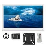 Digitaler Bilderrahmen 15 Zoll 1920x1080 HD IPS Display Elektronischer Bilderrahmen für Foto/Video/Wecker/Uhr/Kalender/Auto EIN/AUS Timer mit Bewegungssensor und Fernbedienung weiß