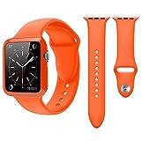 Qianyou Apple Watch Armband Hülle, 38mm Soft Silikon Sport Ersatz Uhrenarmbänder mit Case Sportarmband Uhrenarmband Erstatzband Armbänder für Apple Watch Series 1/2/3,Sport,Edition,Nike+,Orange