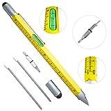 Super 6in 1Multifunktions Stift Lineal, Wasserwaage, Kugelschreiber, Stylus, flach Kopf oder Phillips-Schraubendreher | Perfekte Neuheit Geschenk für Herren gelb