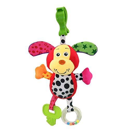 Happy Cherry - Juguetes Colgantes Sonajero para Bebé Animal Perro Felpa Cama del Torno Cuna Traqueteos Peluche para Niños Niñas Arrastrar con Mordedor Sonido - Perro