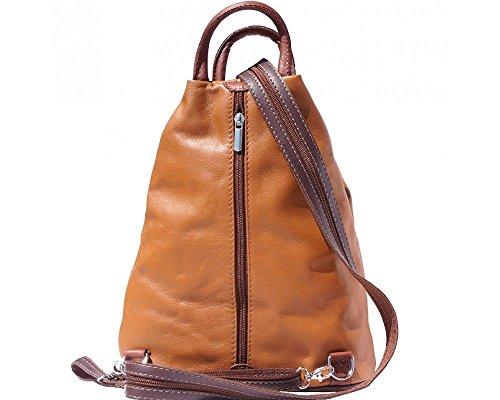 Florence Leather  207, Damen Rucksackhandtasche schwarz, Bordeaux & Tan (mehrfarbig) - 207 Hellbraun / Braun