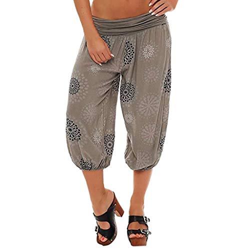 Riou Damen Yogahose Capri Hose Damen Sommer 3/4 Weites Bein Große Größen Lose Baumwolle Stretch Blickdicht Casual Haremshose Stoffhose Pumphose Günstig (2XL, Khaki 2) -