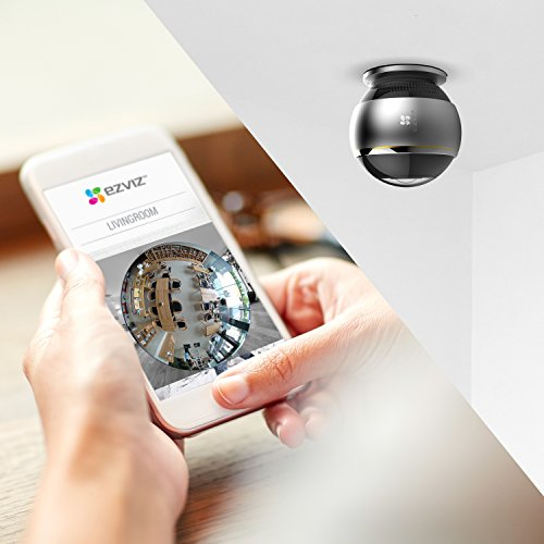 EZVIZ ez360 Pano(Mini Pano), 3 Megapixel WLAN-Fischaugen-Kamera mit Nachtsicht, 360-Grad-/Fischaugen-Panoramaüberwachung, 2/4 Splitscreen, Mikrofon und Lautsprecher, 2.4 Ghz und 5 GHz Dualband-WLAN - 5