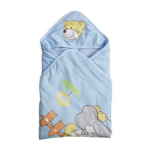 Missley Thicken Baby Hold nouveau-né bébé tricot de coton velours sac de couchage néonatale Pack (Dog-Blue)