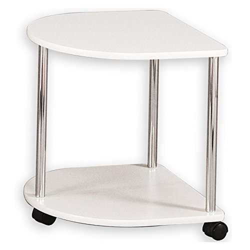 IDIMEX Couchtisch Felina Beistelltisch Wohnzimmertisch Tisch rund mit Rollen und 2 Ablagen in weiß