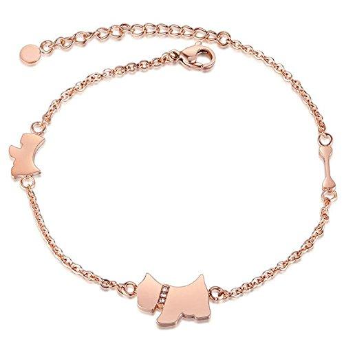 Onefeart Rose Gold Vergoldet Fußkette für Frauen Mädchen Runden Zirkonia Süßer Welpe Gestalten 27CM Rose Gold