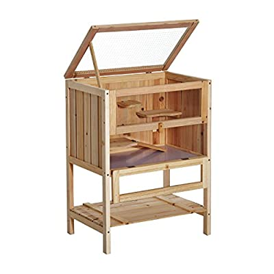 Pawhut 3 Tiers Wooden Hamster Cage Fir Wood Mouse Guinea Rodent Mice House Pet Play Small Animals 60L×40W×80H cm from Sold by MHSTAR