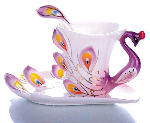 emoyi Porzellan Tee Tasse und Untertasse Tasse Kaffee Pfau Thema Creative Geschenk Large violett
