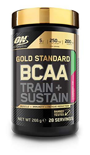 Optimum Nutrition Gold Standard BCAA- Verzweigtkettige Aminosäuren (mit Vitamin C, Wellmune, Rhodiola rosea und Elektrolyten, BCAA Pulver von ON) Strawberry Kiwi, 28 Portionen, 266g -