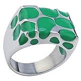 Coniea Ringe für Damen Edelstahl Grüne Bänder Zum Verkleben Fertig Gemacht Ringe Zur Verlobung Größe 52 (16.6)