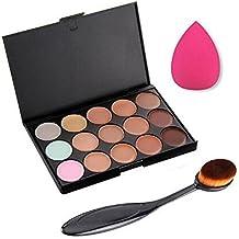 Hosaire corrector de color 15 + Sombra de ojos cepillo + Esponja Maquillaje Fundación Puff