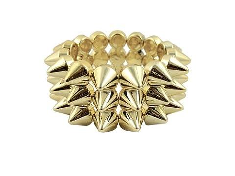 CyberloxShop® Metallic Gold Cyber Spike Bracelet Spiked Studded Rock Goth Punk Emo Candy Rave