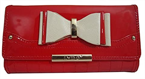 Genuine Ladies LYDC Anna Smith With Ribbon Pattern and Gold Plate and Stud Purse (Red)