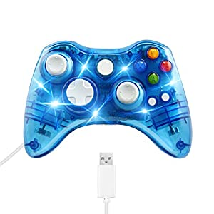 Controller für Xbox 360 Welltop USB Wired Gamepad Controller Xbox 360 Dual Vibration Gamepad Controller Komfortabel mit 7 LEDs Kompatibel mit Xbox 360 PC Windows XP / 7/8 / 8.1 / 10 / Vista
