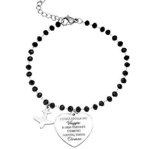 Beloved ❤️ Bracciale da donna braccialetto acciaio con cristalli briolè neri emozionale frasi pensieri parole con charms ciondolo pendente