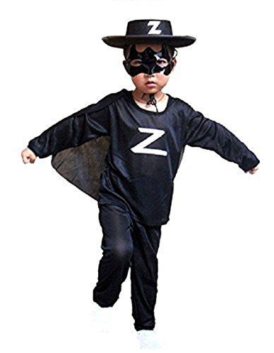 Inception Pro Infinite Größe S - 3 - 5 Jahre - Kostüm - Verkleidung - Karneval - Halloween - Zorro - Schwertkämpfer - Maskierter Ritter - Schwarze Farbe - Kind