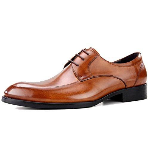 MERRYHE Mens Brush Leder Tilden Walk Derbys Spitz Zehen Brogues Schuhe Business Anzug Schnürschuhe Schuh Formale Schuh Für Herren Herr Hochzeit Abend Arbeit Party,Brown-45