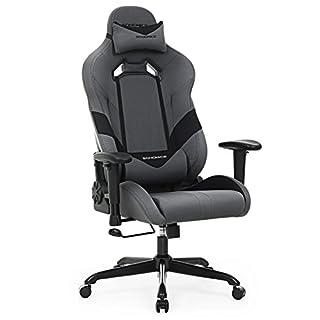 SONGMICS Bürostuhl Gaming Stuhl Chefsessel ergonomisch mit Verstellbare Armlehnen, Kopfkissen Lendenkissen 66 x 72 x 124-132 cm Grau-Schwarz RCG13G