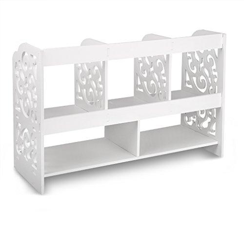 Finether kleines Regal Bücherregal Aufsatzregal Aufbewahrungsregal Tisch-Organizer für Wohnzimmer Badezimmer zur Aufbewahrung von BücherDekoartikel Toilettenartikel Kosmetik aus WPC wasserdicht 60 x 22 x 38 cm weiß - 3