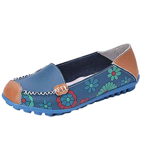 Maleya Neue Frauen-Leder beschuht Müßiggänger-weiche Freizeit-Ebenen-weibliche beiläufige Schuhe Multicolor All Seasons Ballett Slip On Flats Loafers Schuhe Vintage Style Flache weiche Schuhe (Ballett-ausschnitt Stricken)