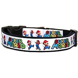 Super Mario Bros Collar Perro Hecho a Mano Talla M con Correa a juego de 120 cm Dog Collar HandMade