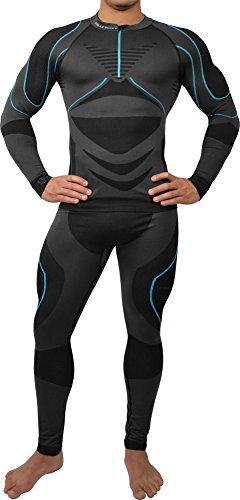 Polar Husky® Sport Funktionswäsche Herren Set (Hemd + Hose) Seamless Ski-, Thermo- & Funktionswäsche - Funktionsunterwäsche in versch. Farben Farbe Schwarz/Türkis Größe L/XL