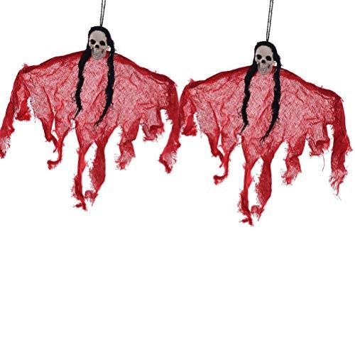 Toyvian Halloween Hanging Ghost Dekoration Scary Requisiten für Party 2 Stück