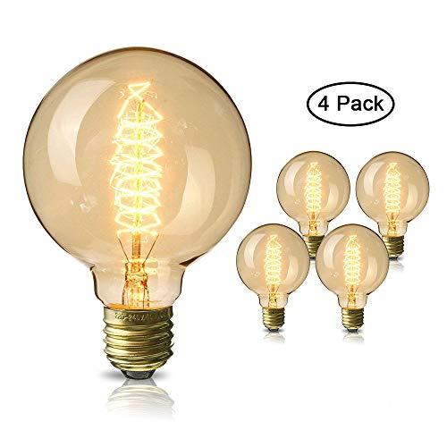 Edison Glühbirne, Mixigoo E27 Vintage Globe Glühlampe 40W G80 Retro Birne Dimmbar Filament Warmweiß Dekorative Glühbirne Ideal für Nostalgie und Antike Beleuchtung - 4 Stück -