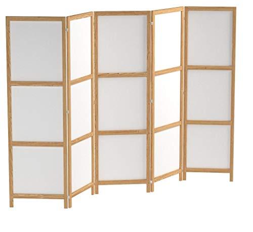 murando - Paravent XXL 225x171 cm - 5-teilig - Deutsches Qualitäts Vlies - Leinwand - eleganter Sichtschutz - Raumteiler - Trennwand - Raumtrenner - Holz - Weiß - Deko - Japan p-A-0009-z-c