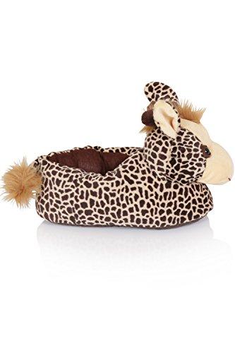 Unisex Tierhausschuhe aus Plüsch - Kinder & Erwachsene Giraffe - Light Brown