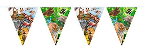 Cadena banderillas SAFARI & ANIMALES SALVAJES para Fiesta y Cumpleaños de FLOTADOR 62007 Cumpleaños de niños Set Decodificación De Garland Partykette Bandera Jungla Mono De León Jirafa Cebra