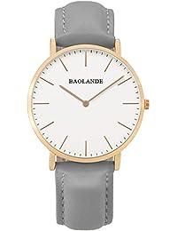 Alienwork Reloj cuarzo elegante cuarzo moda diseño atemporal clásico Piel de vaca oro rosa gris U04815L-06