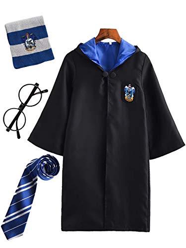 FStory&Winyee Kinder Erwachsene Cosplay Kostüm Harry Potter Kostüm Outfit Set Zauberstab Krawatte Schal Brille Karneval Verkleidung Fasching Halloween schwarz 115 185 Groß Größe (Luna Lovegood Kostüm)