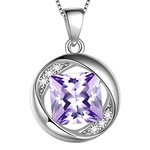 AuroraTears Dezember Birthstone Halskette 925 Sterling Silber Lila Türkis Geburtsstein Anhänger Schmuck Geschenke für Frauen und Mädchen DP0029D