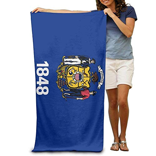 Ewtretr Strandtücher Flag of Wisconsin Adult Beach Towels Fast/Quick Dry Machine Washable Lightweight Absorbent Plush Multipurpose Use Quality Towels for Swim,Pool,Beach,Gym,Camping,Yoga
