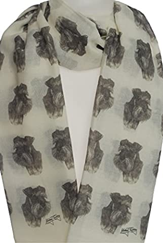 Schnauzer Fashion Design Limited Edition Ladies Scarf - Exclusive Mike Sibley Fashion Scarf Signature Collection - Perfect Gift for Any Dog Lover - Hand Printed in the