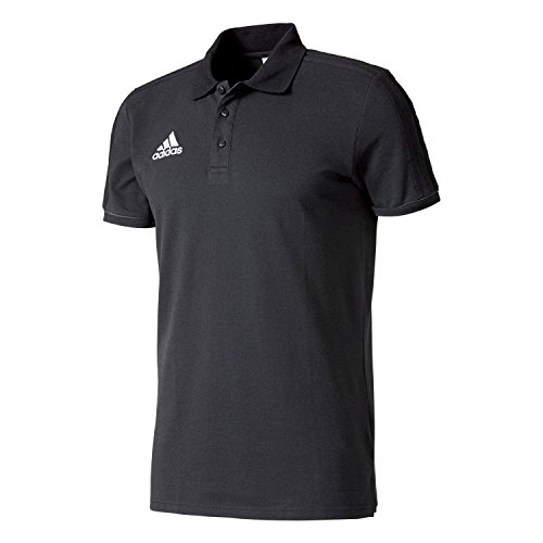 adidas Herren Tiro 17 Cotton Polo Poloshirt, Black/Dark Grey/White, XS (T-shirt Tonale Streifen)